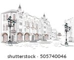 series of street views in the... | Shutterstock .eps vector #505740046