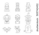 vector line icon character... | Shutterstock .eps vector #505742452