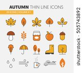 autumn thin line vector icons... | Shutterstock .eps vector #505743892