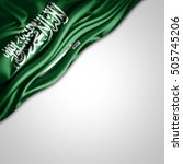 saudi arabia flag of silk with... | Shutterstock . vector #505745206