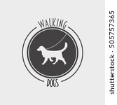 Stock vector walking dog badge label logo or symbol design concept with golden retriever dog silhouette 505757365