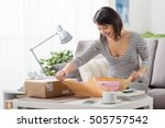 happy excited woman at home ... | Shutterstock . vector #505757542