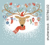 christmas card  christmas deer | Shutterstock .eps vector #505786132