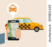 taxi vehicle and transportation ... | Shutterstock .eps vector #505801105