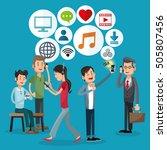 mobile people cartoon design | Shutterstock .eps vector #505807456