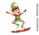 elf snowboarder sliding down... | Shutterstock .eps vector #505811362