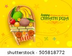 illustration of happy chhath... | Shutterstock .eps vector #505818772