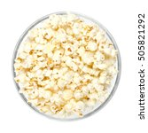 popped popcorn in glass bowl on ... | Shutterstock . vector #505821292
