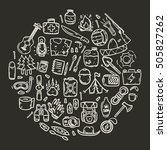 hand drawn camping doodle icons ... | Shutterstock .eps vector #505827262