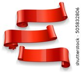 realistic red glossy  ribbons... | Shutterstock . vector #505832806