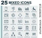 set of 25 universal editable... | Shutterstock .eps vector #505839118