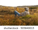 man in hoodie listening to... | Shutterstock . vector #505840015