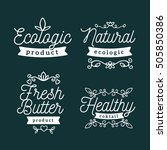 vector set of eco badges with... | Shutterstock .eps vector #505850386