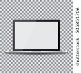 blank screen. realistic laptop... | Shutterstock .eps vector #505851706