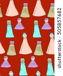 the pattern of the dress on a... | Shutterstock . vector #505857682