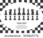 set of black chess pieces and... | Shutterstock .eps vector #505865776