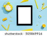 blank tablet with school and... | Shutterstock . vector #505869916