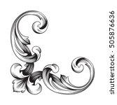 vintage baroque corner scroll...   Shutterstock .eps vector #505876636