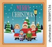 singing cartoon of christmas... | Shutterstock .eps vector #505897156