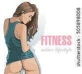 sexy butt girls in underwear.... | Shutterstock .eps vector #505898008