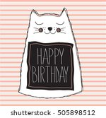 happy birthday card with cute... | Shutterstock .eps vector #505898512