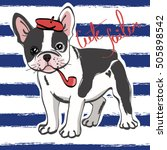 cute french bulldog sailor on... | Shutterstock .eps vector #505898542