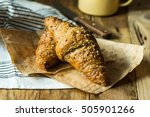 wholemeal croissants on a... | Shutterstock . vector #505901266
