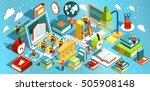 online education isometric flat ... | Shutterstock .eps vector #505908148