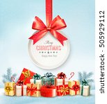 christmas presents with a gift... | Shutterstock .eps vector #505929112