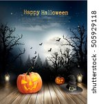 halloween spooky background.... | Shutterstock .eps vector #505929118