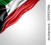 kuwait  flag of silk with... | Shutterstock . vector #505952986