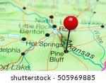 Pine Bluff pinned on a map of Arkansas, USA
