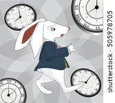 Stock vector alice in wonderland rabbit running time 505978705