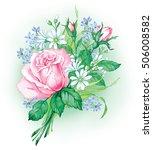 beautiful summer bouquet with... | Shutterstock . vector #506008582