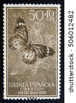 "Small photo of MOSCOW RUSSIA - NOVEMBER 25, 2012: Spanish Guinea with inscription ""Guinea Espanola, dia del sello"", series, circa 1958"