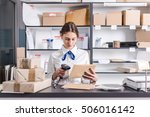 young woman working at the post ... | Shutterstock . vector #506016142