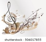 holiday music. abstract treble... | Shutterstock .eps vector #506017855
