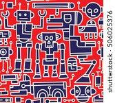 retro robot doodles seamless...   Shutterstock .eps vector #506025376