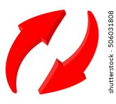 red recycle arrows. web 3d icon.... | Shutterstock .eps vector #506031808