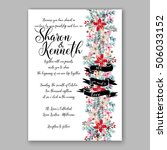 poinsettia wedding invitation... | Shutterstock .eps vector #506033152