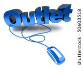 3D rendering of the word outlet connected to a computer mouse - stock photo