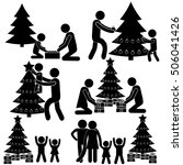 family decorating new year  ... | Shutterstock .eps vector #506041426