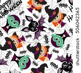 seamless pattern of characters... | Shutterstock .eps vector #506042365