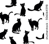 Stock vector seamless textile character pattern of black cats silhouette on white background 506064598