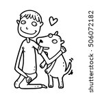 dog lover with his new friendly ... | Shutterstock .eps vector #506072182