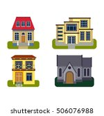 houses front view vector... | Shutterstock .eps vector #506076988