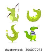 cute cartoon crocodile... | Shutterstock .eps vector #506077075