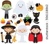 halloween children vector... | Shutterstock .eps vector #506118862