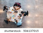 top view of group of students... | Shutterstock . vector #506137015