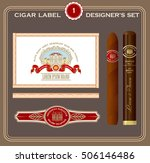 vintage cigar label set. design ... | Shutterstock .eps vector #506146486